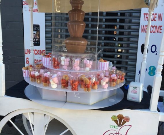 candy cart chocolate fountain